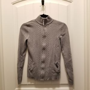 Denver Hayes knit zip mock neck sweater small gray